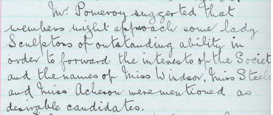192nd council meeting, 5th February 1923; Minutes of Council Meetings no.3. Royal Society of Sculptors' archive.