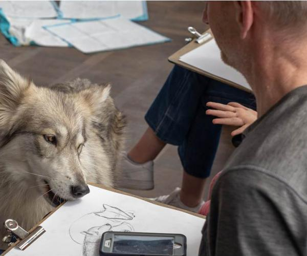 wild life drawing with wolves